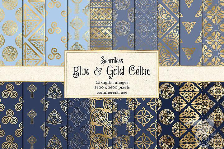 Blue and Gold Celtic Digital Paper