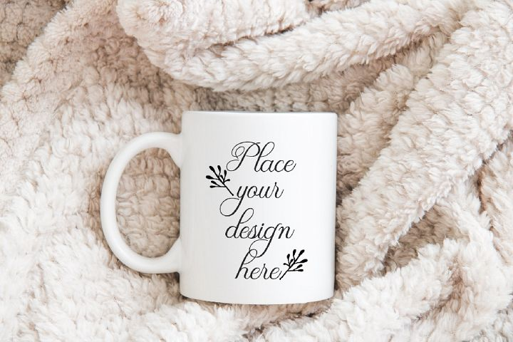 Winter xmas white coffee mug mock up cup soft stock photo