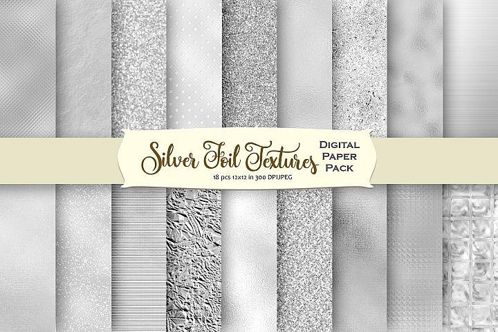 Silver Textures Digital Paper