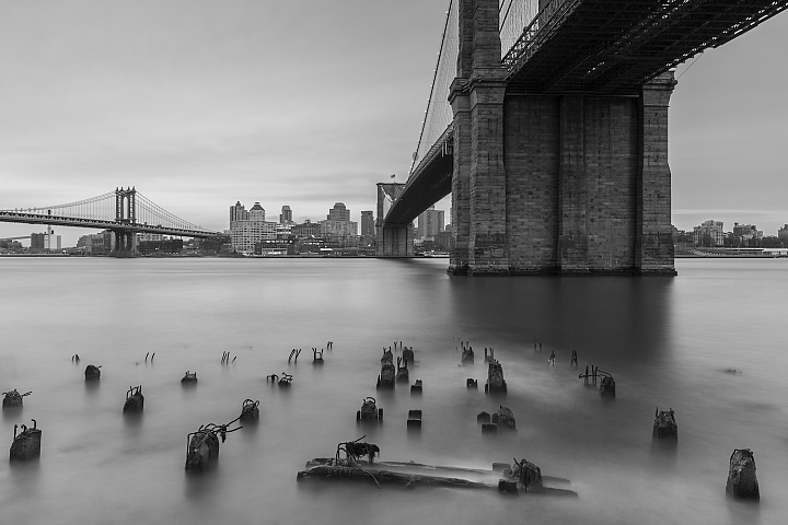 Brooklyn Bridge,Manhattan Bridge and Dumbo from broken pier