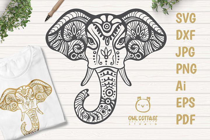 Patterned Elephant SVG, Mandala Decor Cut File