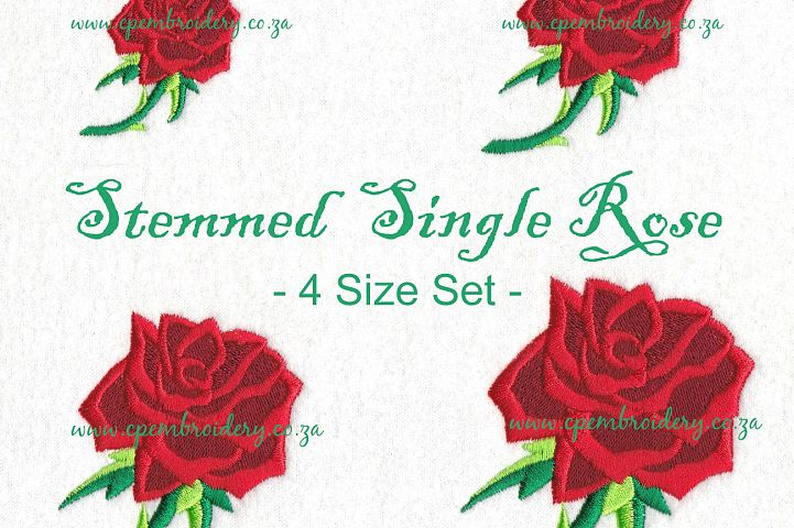 Rose with Stem Machine Embroidery Design Set of 4 Sizes