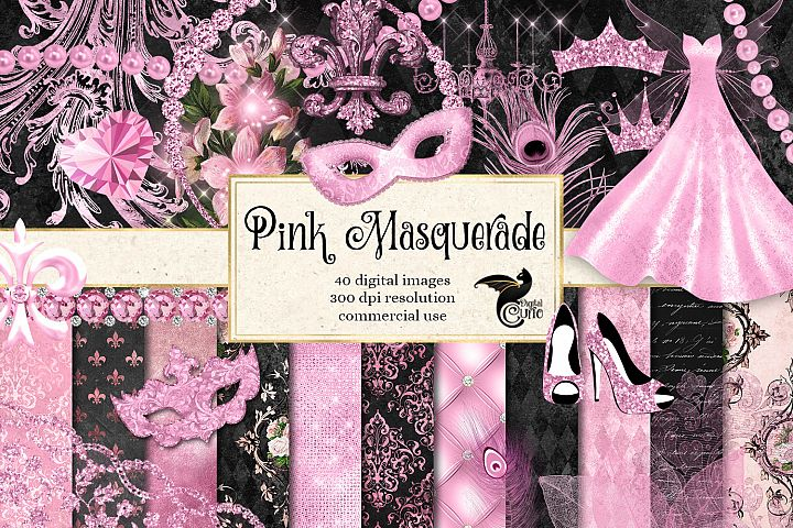 Pink Masquerade Digital Scrapbooking Kit