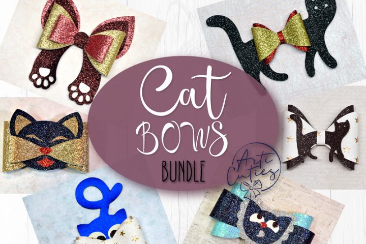 Cat bow template SVG bundle, 6 bow template