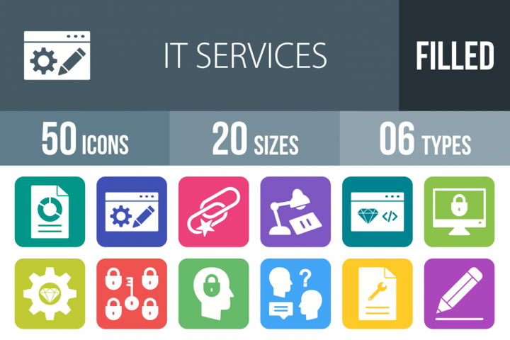 50 IT Services Filled Round Corner Icons