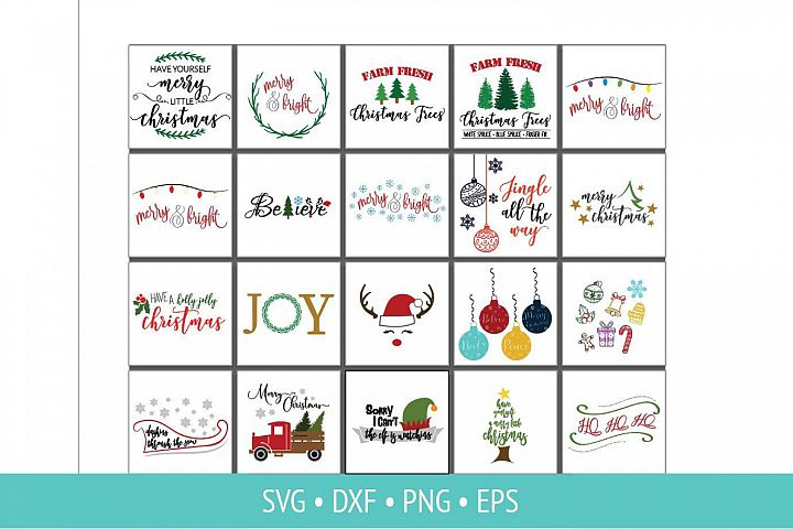 Christmas Sign Bundle SVG PNG DXF and JPG Cut Clipart Files