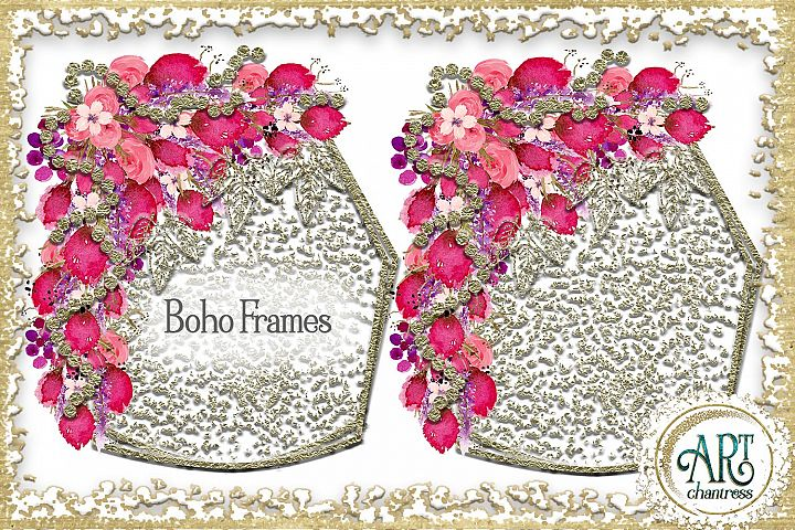 Watercolor Boho Floral Blush pink wreath frame PNG