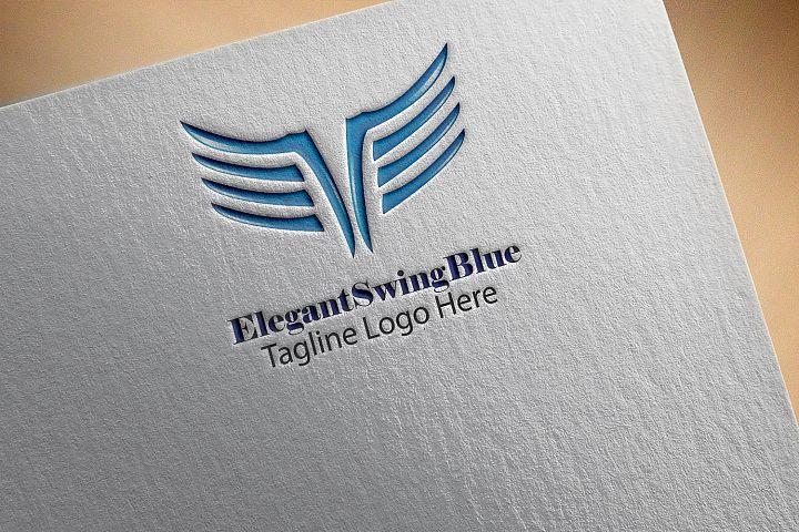 Elegant Wing Blue Logo