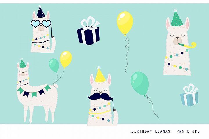 Birthday Llama Clipart Set - 300 dpi, png, jpg, illustration