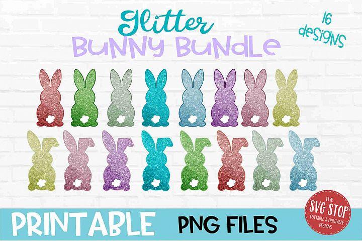 Glitter Easter Bunny Sublimation Design PNG