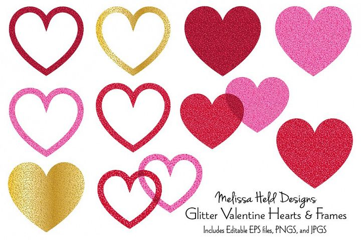 Glitter Valentine Hearts and Frames