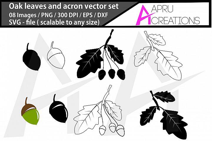 oak leaves and acorns silhouette/oak leaves and acorns svg