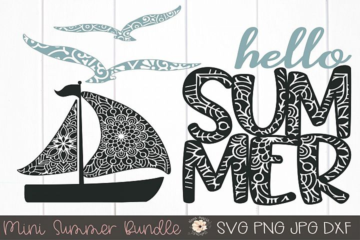 Summer Mini Bundle Mandala Svg | Boat Seagulls Zentangle