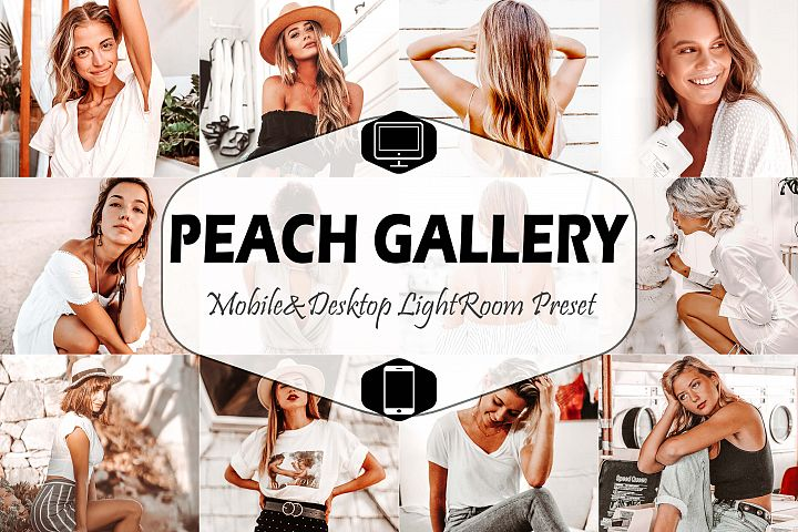 10 Peach Gallery Mobile & Desktop Lightroom Presets, Orange
