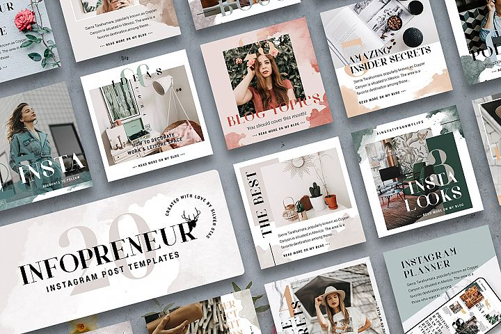 #Infopreneur - Instagram Post Templates Pack