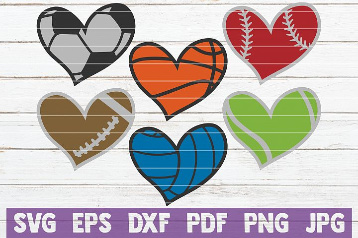 Sport Hearts SVG Bundle | SVG Cut Files | commercial use