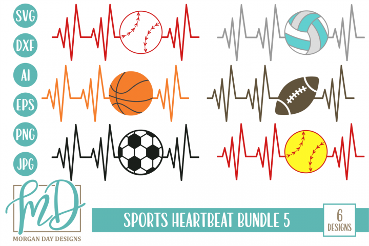 Sports Heartbeat Bundle 5 SVG, DXF, AI, EPS, PNG, JPEG