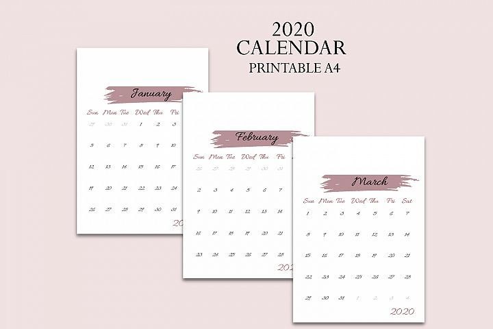 Calendar 2020, Printable calendar 2020, New year calendar