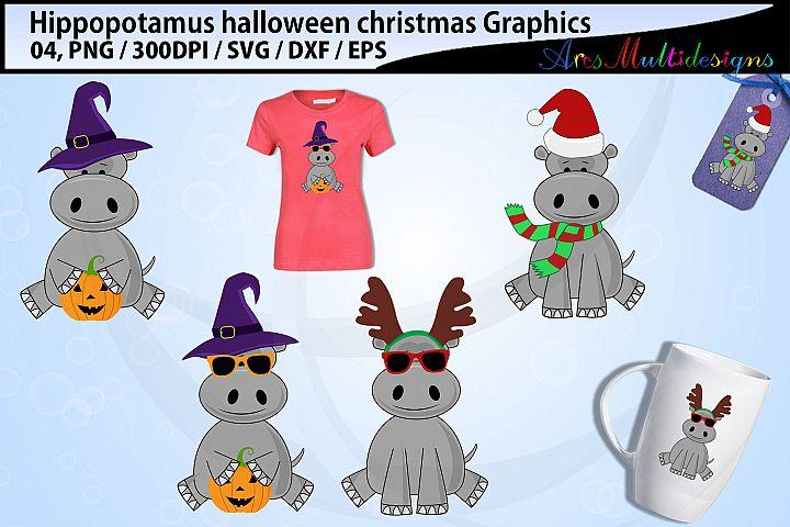 hippopotamus halloween svg / hippopotamus christmas svg