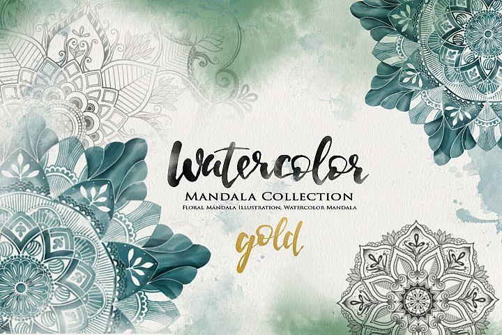 Watercolor & Gold Hand Drawn Mandala