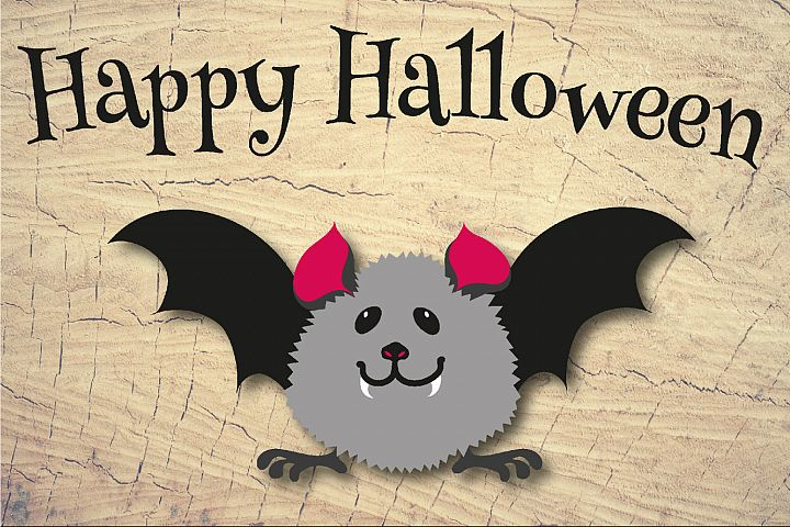 Happy Halloween Baby Bat Sign Sublimation & Cut File