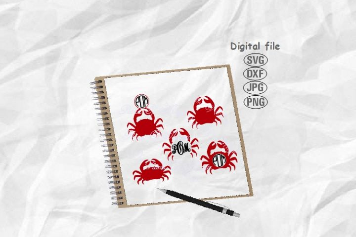 Crab Svg, Crab Bundle Svg, Crab Monogram Svg, Nautical Svg
