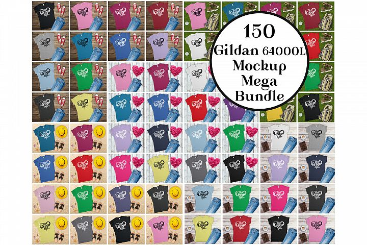 Gildan Ladies T-Shirt Mockup Mega Bundle Flat Lay 64000L