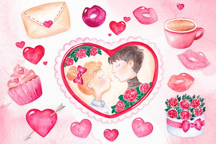 Valentine's day clipart Watercolor Love clipart Heart frame example image 1