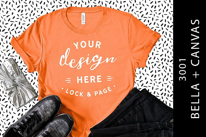 Coral Bella Canvas 3001 T-Shirt Mockup Trendy Flat Lay