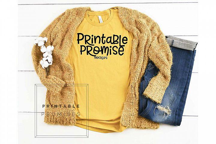 Mustard Shirt Mockup - Bella Canvas 3001 Shirt Mockup