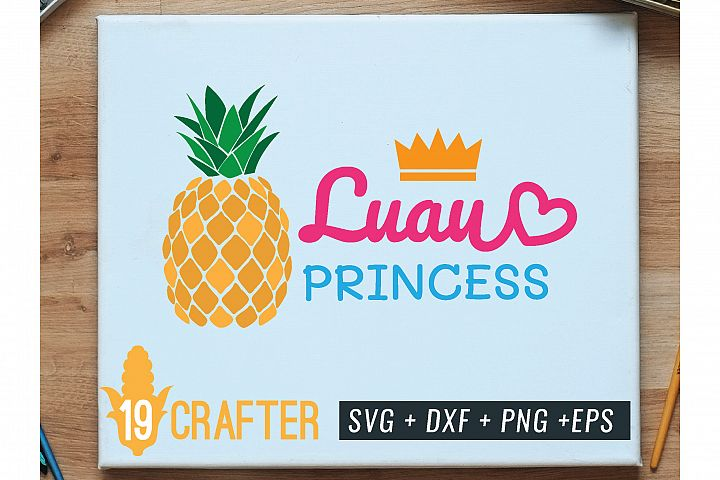 luau princess with pineapple summer beach svg