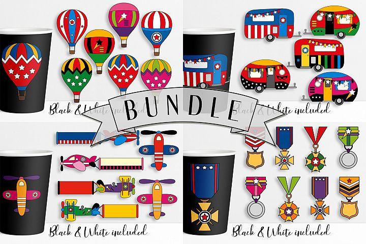 Superhero illustrations bundle - transportation and medals