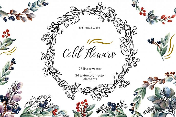 Cold Flowers - Vector & Watercolor Clip Art Set