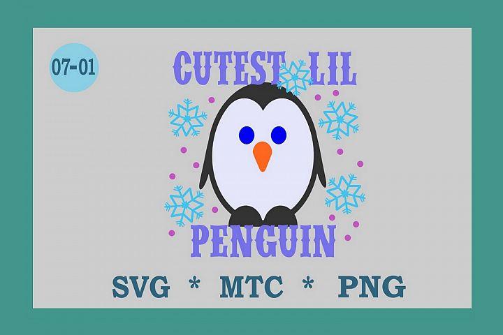 SVG Penguin w/Hat Design 07-01 Winter Digital PNG Cut File