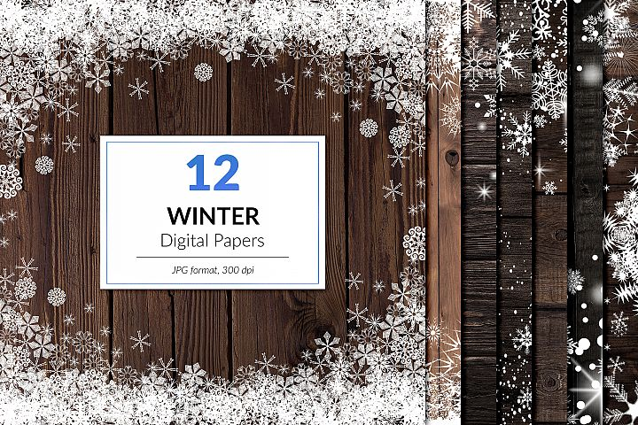 Winter Digital Paper, Wood And Snowflake Frames