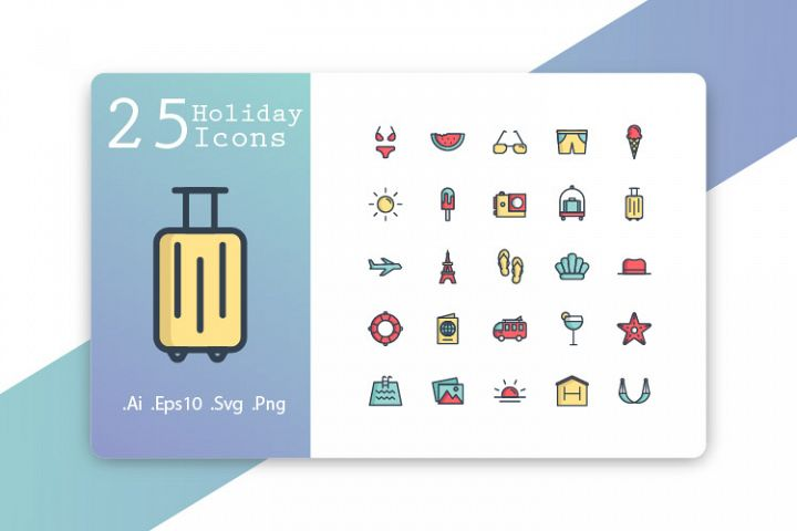 25 Holiday Icons Fill Line Design