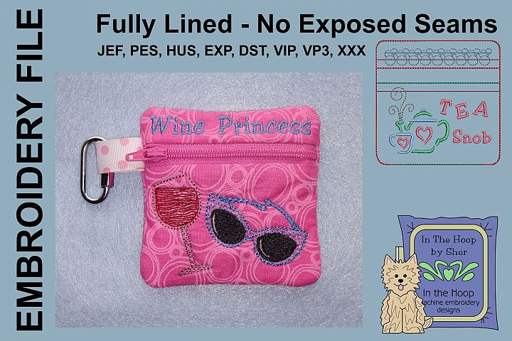 Wine Princess Zipper Bag / Fully Lined, 4X4 HOOP