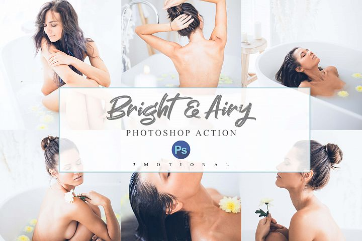 12 Airy and Bright Photoshop Actions, ACR and LUT Presets,