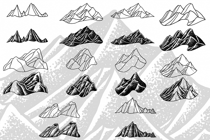 Mountains simple illustration