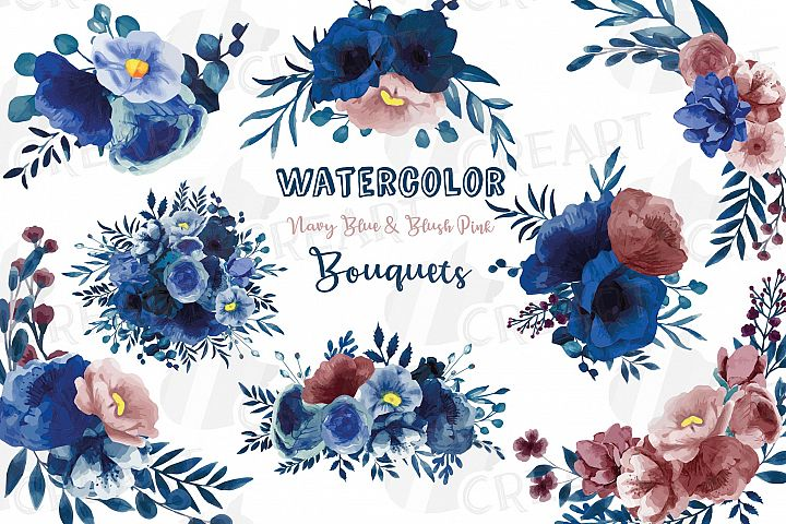Navy blue and blush pink floral watercolor bouquets clip art