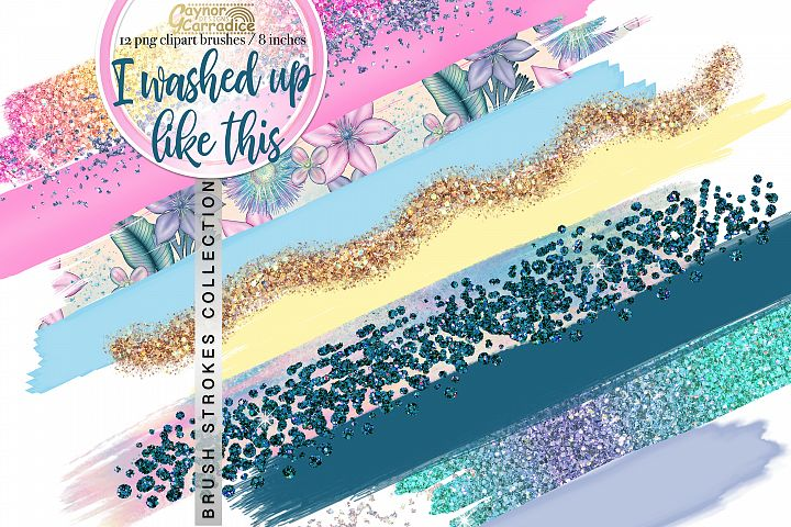 Mermaid paint brush strokes collection