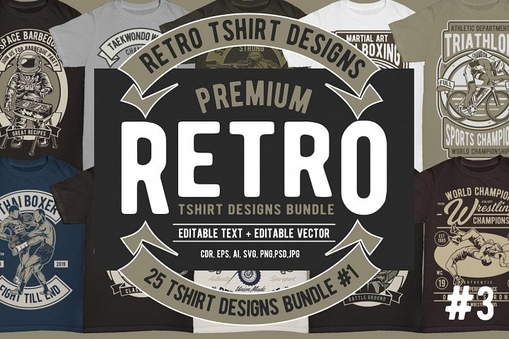 25 Retro Tshirt Designs Bundle 3 #1