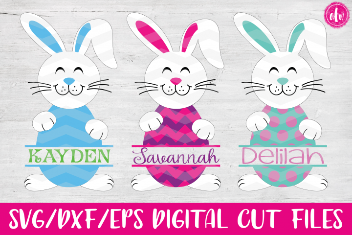 Split Easter Bunny Eggs- SVG, DXF, EPS Cut Files