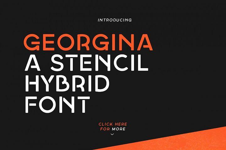 Georgina - A Stencil Hybrid font