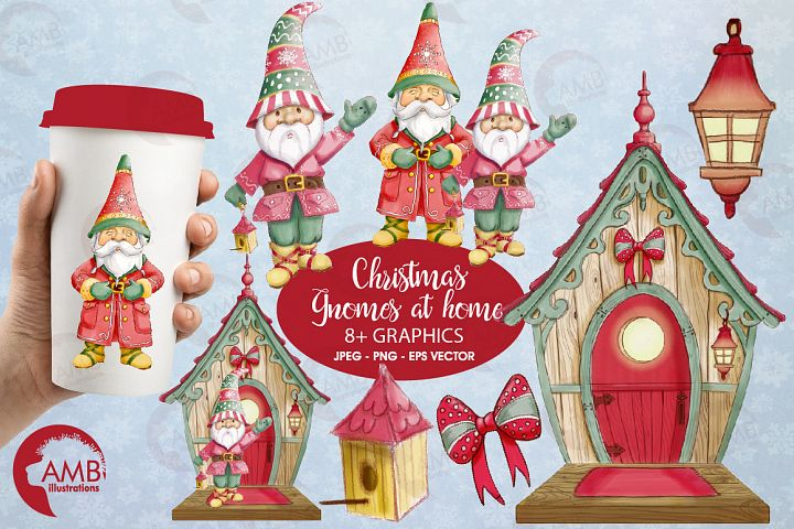 Christmas gnomes clipart watercolor AMB-1543