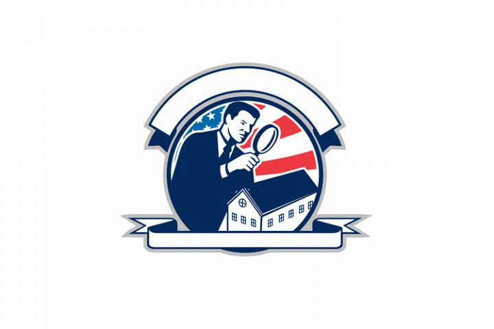 American Home Inspector USA Flag Circle Icon