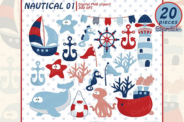 NAUTICAL clipart, ship, lighthouse, whale, cute starfish art