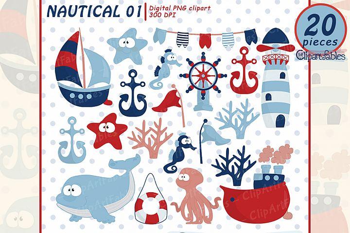NAUTICAL clipart, ship, lighthouse, whale, cute starfish art