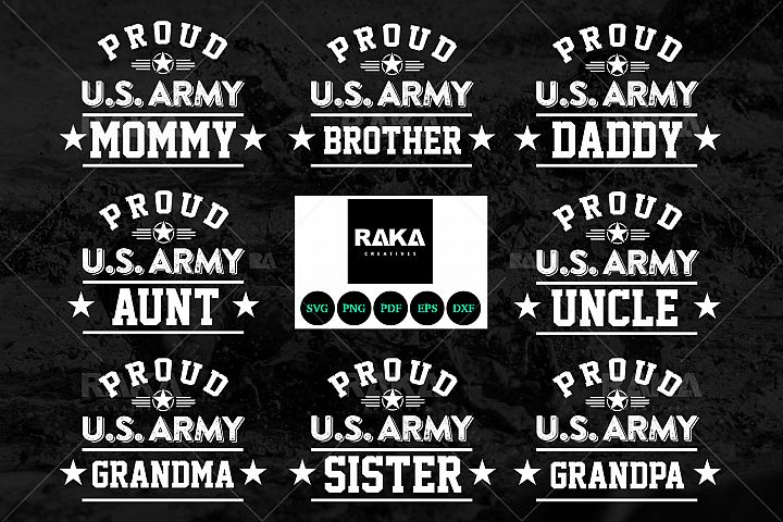 13 Style Proud US Army & Military Family in SVG Files