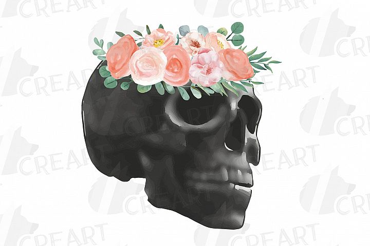 Watercolor blush floral skull clip art, Indian Tribal skull